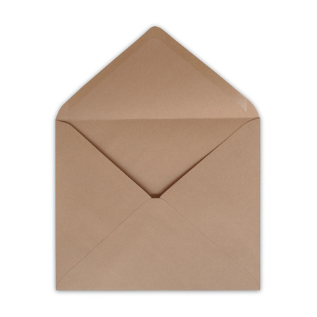 Brown envelope open on a white background.