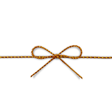 yellow gold rope bow on a white background. photo
