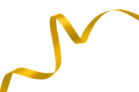 curved ribbon: yellow gold ribbon on a white background with clipping paths.