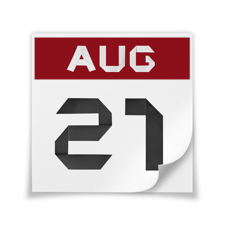 Calendar of August 21, on a white background.