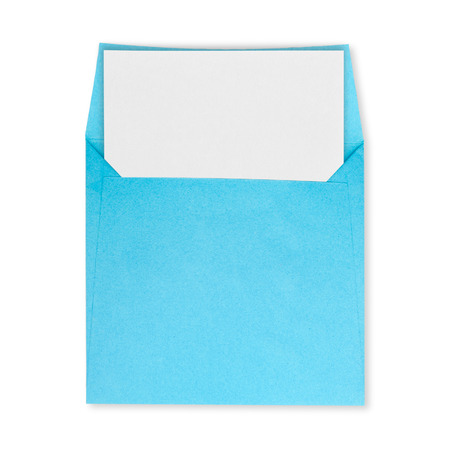 Square blue envelope open and white paper on a white background. Stock Photo
