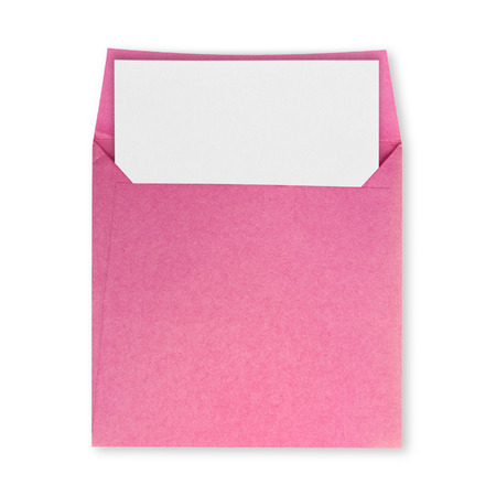Square pink envelope open and white paper on a white background.