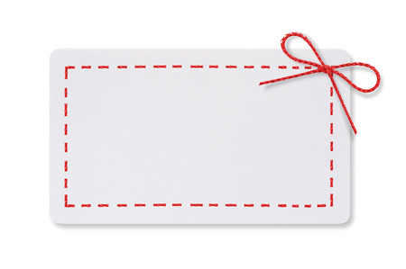 White paper card with a red rope bow on a white background.