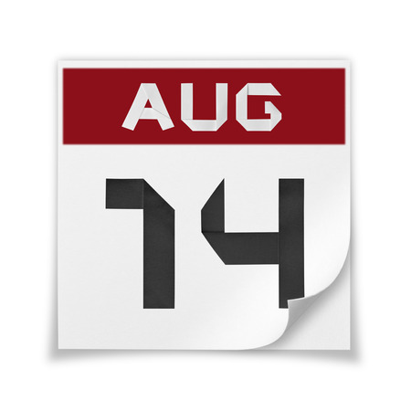 Calendar of August 14, on a white background.