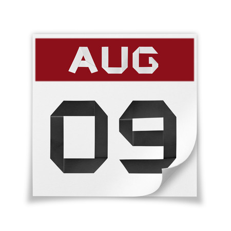 Calendar of August 9, on a white background. Stock Photo