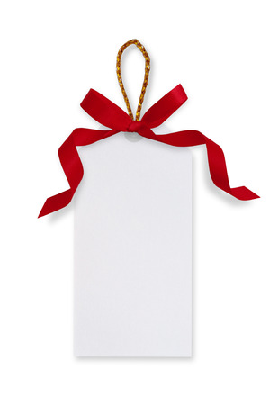 White paper tags and red ribbon bow, gold rope on white background.