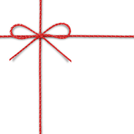 Red rope bow on a white background. Banque d'images
