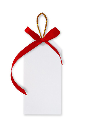 twine: White paper tags and red ribbon bow, gold rope on white background.
