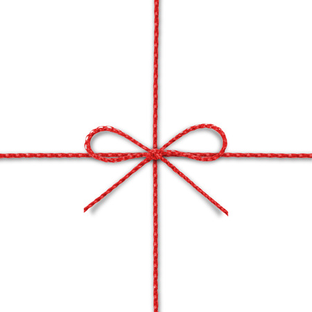 Red rope bow on a white background. photo