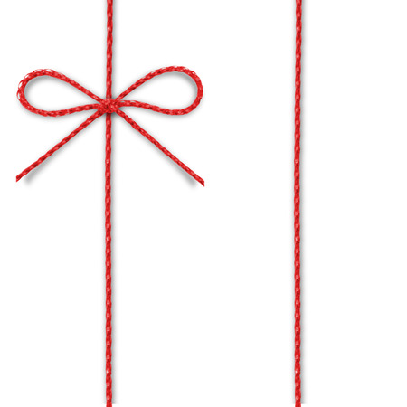 Red rope bow on a white background. Stock Photo