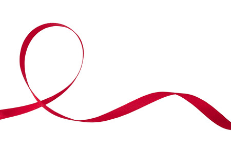 Red ribbon on a white background with clipping paths.