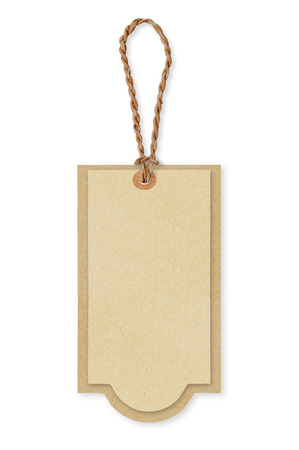 twine: Brown paper price tags with brown rope. Recycled paper. background and texture.