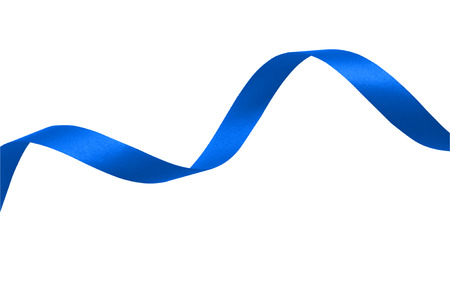 Blue ribbon on a white background with clipping paths. Stock Photo