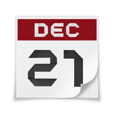 december 21: Calendar of December 21, on a white background.
