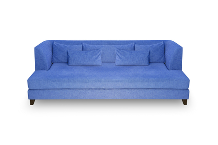 Blue sofa Pillow and leaning back on a white background.