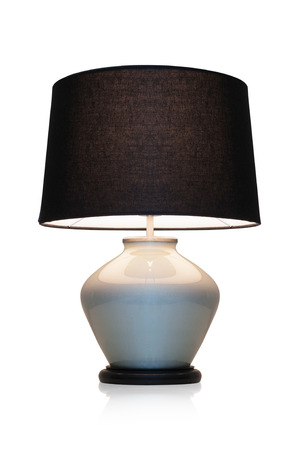 lampshade: Modern table lamp black marble on a white background.