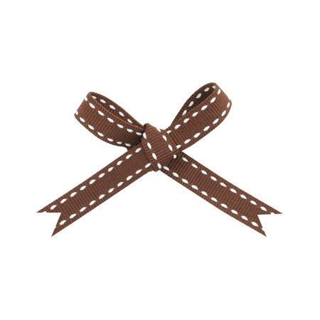 Brown bow striped white on a white background. Banco de Imagens