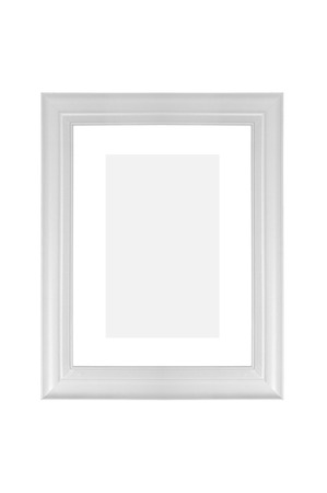 White wooden picture frame on a white background
