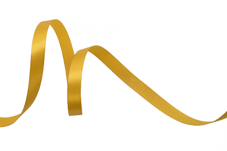Yellow gold ribbon on a white background.