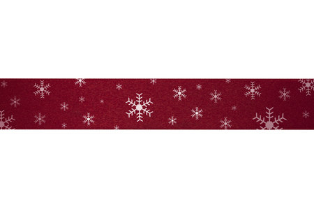 Red ribbon stripes snow flake on a white background.