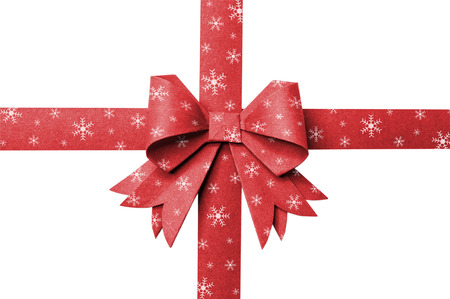 christmas present: Red paper ribbon stripes snow flake on a white background.