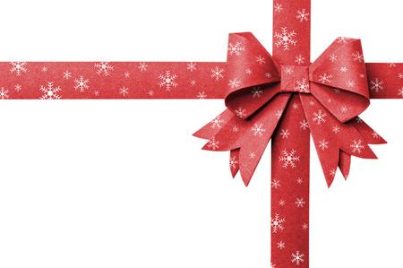 flake: Red paper ribbon stripes snow flake on a white background.