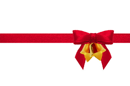 Red ribbon Bow and bell on a white background