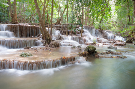 Beautiful waterfall in Huay Mae Kamin, Kanchanaburi Province, Thailand.
