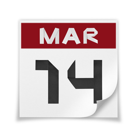 Calendar of March 14, on a white background.