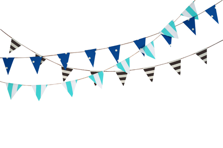 Celebrate banner. Party flags blue, brown and white.