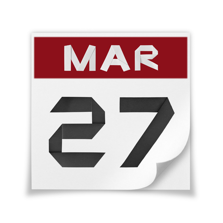 Calendar of March 27, on a white background. Banco de Imagens