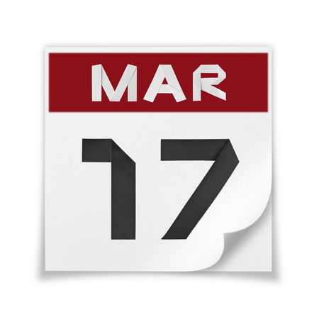 Calendar of March 17, on a white background.