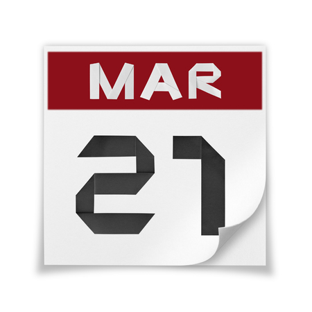 Calendar of March 21, on a white background.