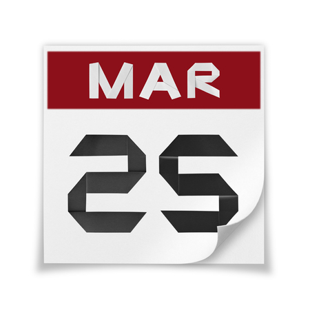 Calendar of March 25, on a white background.