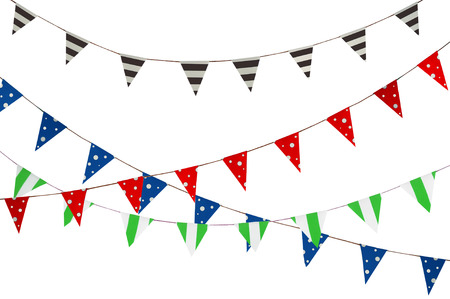 Celebrate banner. Party flags blue, brown, Red, Green and white.