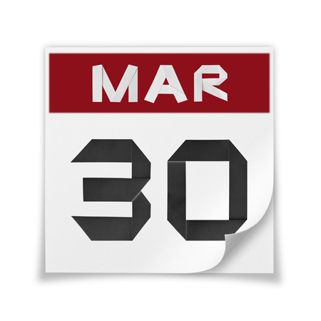 Calendar of March 30, on a white background.