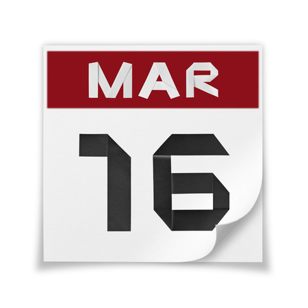 Calendar of March 16, on a white background.