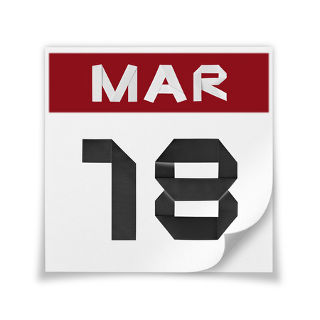 Calendar of March 18, on a white background. Banco de Imagens