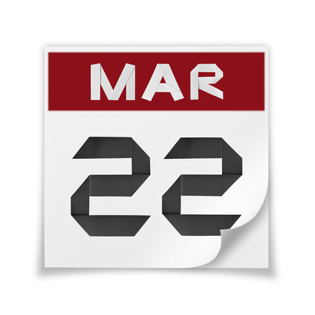 Calendar of March 22, on a white background.