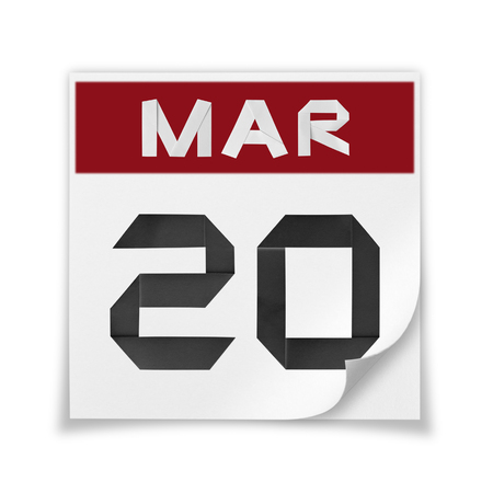 blank page: Calendar of March 20, on a white background. Stock Photo