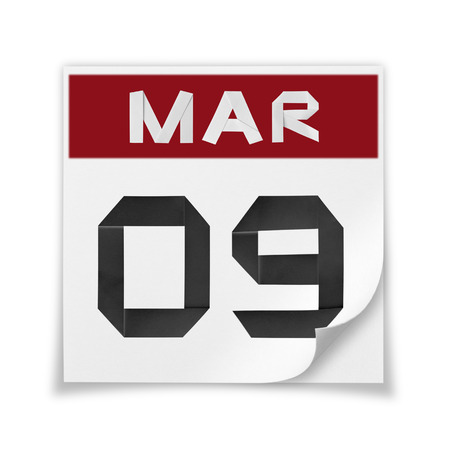 Calendar of March 9, on a white background.