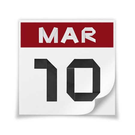Calendar of March 10, on a white background. Banco de Imagens