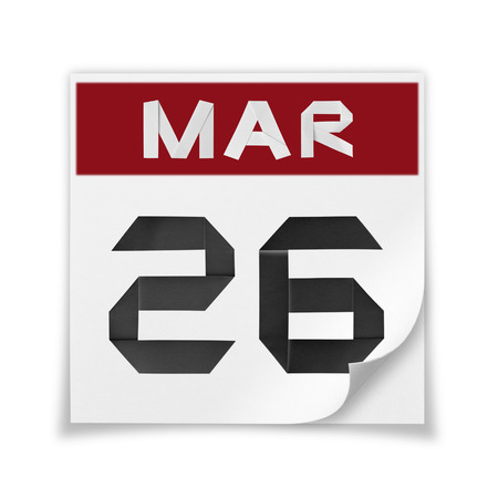 Calendar of March 26, on a white background. Banco de Imagens