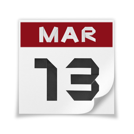 Calendar of March 13, on a white background.