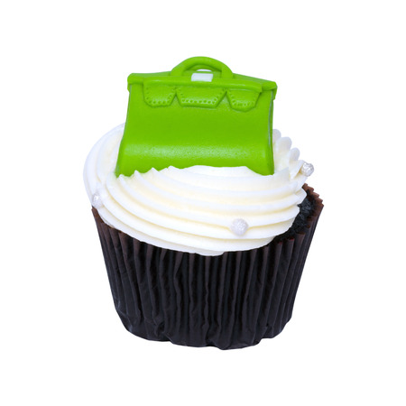 fancy bag: Fancy Chocolate cupcake cream white and Green Bag. Stock Photo