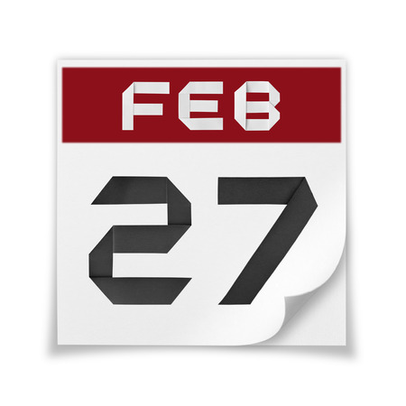 blank page: Calendar of February 27, on a white background.