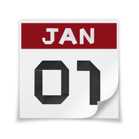 january 1: Calendar of January 1, on a white background. Stock Photo