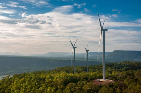 Electric wind turbine view with blue sky above the dam. Khao Yai Tieng, Nakhon Ratchasima provinces, Thailand