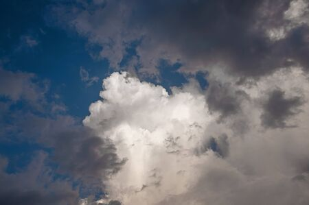 Puffy bright white and gray rain cloud on blue sky background Stockfoto