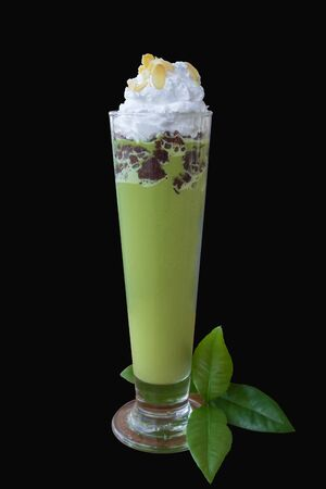 Red bean matcha green tea isolated on black background, clipping path Banco de Imagens